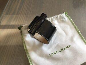Longchamp Impeccable Verni Cuir Bracelet Noir Manchette 6wq5qXZ