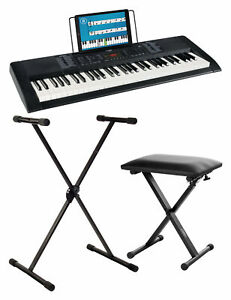 Piano Electrique Clavier Numerique Synthetiseur 61 Touches Banc Support Set Noir