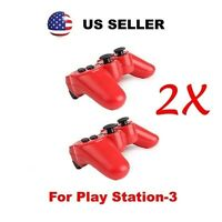 New 2X RED Wireless Bluetooth Game Controller for SONY Playstation 3 PS3 by MR*