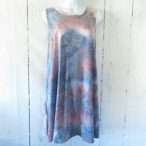 New-Yee-By-Umgee-Tank-Top-Tunic-Dress-L-Large-Blue-Tie-Dye-A-Line-Made-In-USA