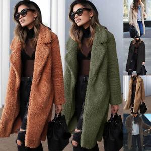 UK-Womens-Teddy-Bear-Long-Knee-Coat-Ladies-Vintage-Faux-Fur-Jacket-Lapel-Outwear