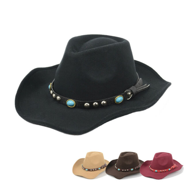 Men' s Cowboy Hats Casual Leather Brim Caps Wide Trim with Turquoise Stone Belt