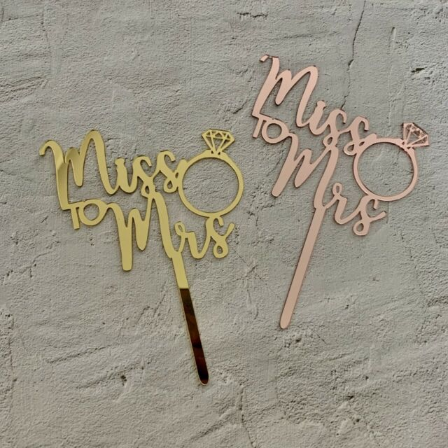 Miss to Mrs Rose Gold Acrylic Cake Topper Bridal Shower Kitchen Tea