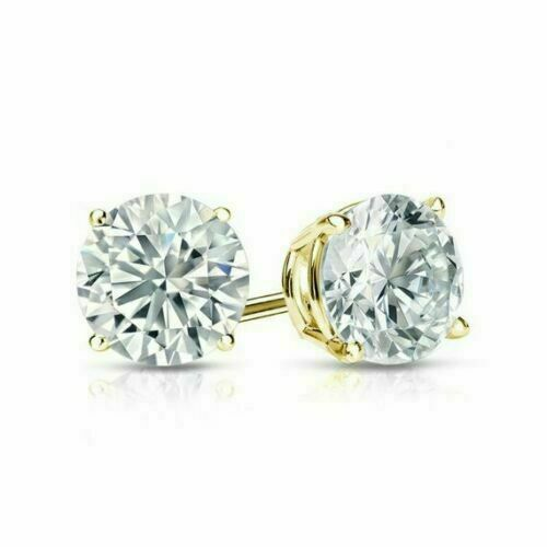 2.00 Ct Brilliant Cut Sparkle Moissanite Stud Earrings 14K Yellow Gold Over