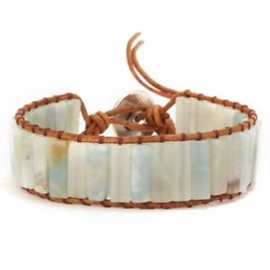 7-Chakra-Natural-Stone-Tube-Beads-Bracelet-Women-Handmade-Leather-Bangle-Jewelry