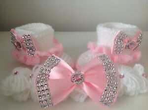 Hand-knitted-Romany-Bling-baby-girl-shoes-and-Crochet-headband-0-3-months