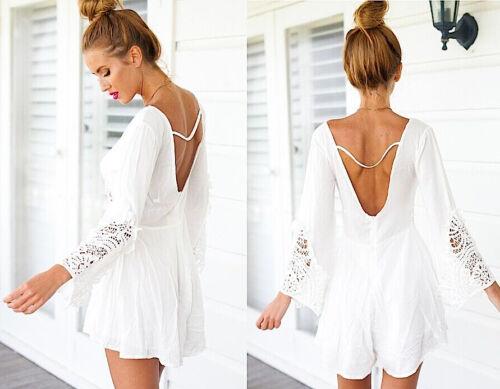 Mini Jumpsuit White Chiffon 110048 Vestito Tuta Pantaloncini in Chiffon Pizzo