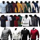 Herren Stehkragen Pullover T-shirt Pulli Slim Formal Sweatshirt Hemd Sweat Bluse