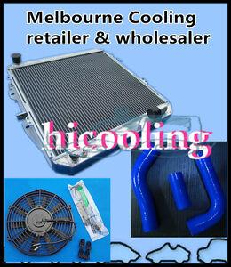 50mm-Aluminum-Radiator-Blue-Hose-One-Fan-for-HILUX-LN106-LN111-Diesel-1988-1997