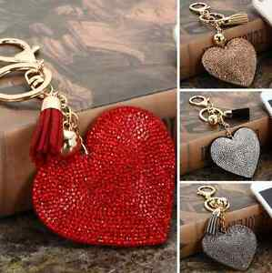 Image Is Loading Heart Crystal Rhinestone Handbag Charm Pendant Keychain Bag