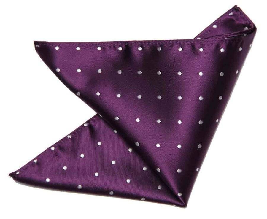 Gascoigne Pocket Square Silk Purple White Polka Dot Men's