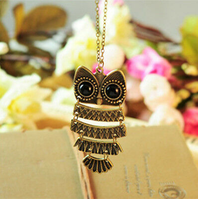 Fashion Vintage Women Rhinestone Owl Pendant Long Chain Necklace Jewellery Gift