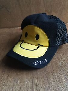 3657e921f90bc Image is loading SMILE-bling-Yellow-Smiley-Face-trucker-hat-cap-