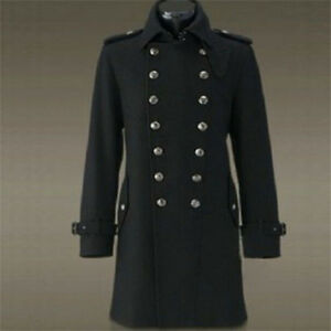 Men/'s Coat Military Wool Blend Single Breasted Long Trench Jacket Outwear Parkas