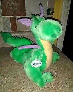 "Vintage Prettique GREEN DRAGON Plush Stuffed Animal 10"""