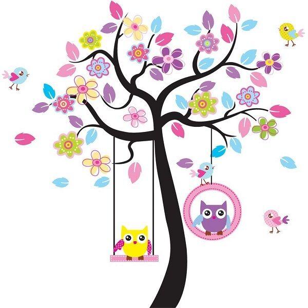 Large Owl Swing Flower Tree Wall Removable Decal Stickers decor art Kids Nursery