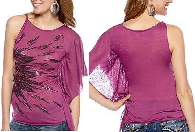 Miss Me Sportswear Pink One-Shoulder Drape Tunic Top w Sequin Details - MSRP
