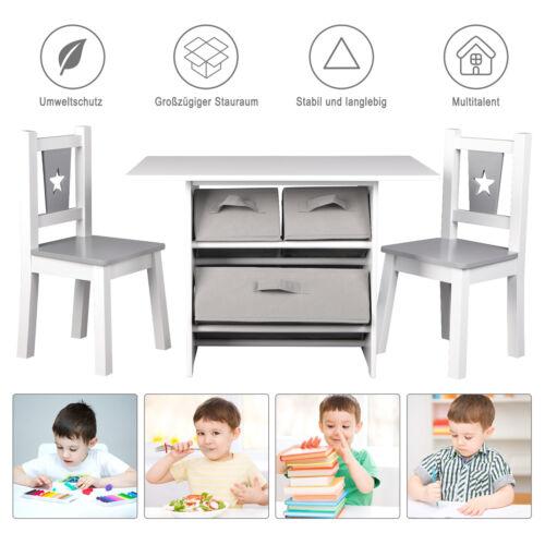 Kindersitzgruppe Tisch mit 2 Stühlen 3 Aufbewahrungskörben Holz Weiß SG011