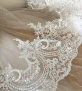 245-Mm-Embroidered-Sequin-Lace-Trim-Edging-Applique-Wedding-Veil-Venise-Ivory