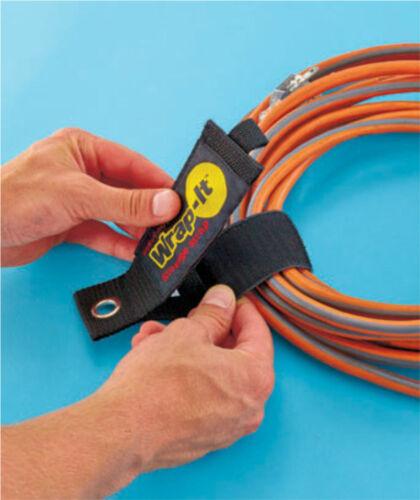 Set//4 Wrap It Straps TM Heavy Duty Storage 2 medium 2 large Nylon w//metal hook