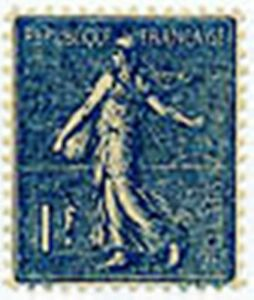 FRANCE-STAMP-TIMBRE-N-205-034-TYPE-SEMEUSE-LIGNEE-1F-BLEU-034-NEUF-xx-LUXE