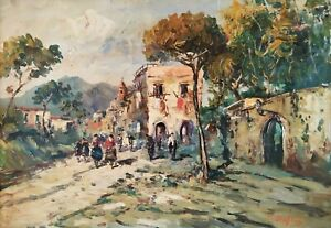 Dipinto Vintage Paesaggio con figure Antico Borgo Olio su tela firmato Orefice