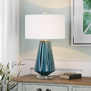 New Modern Teal Gray Blue Glass Table Lamp Brushed Nickel Crystal