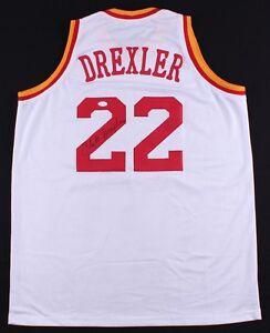57dd93e68 Clyde Drexler Signed Rockets Jersey (JSA) NBA Champion (1995) 10 X ...