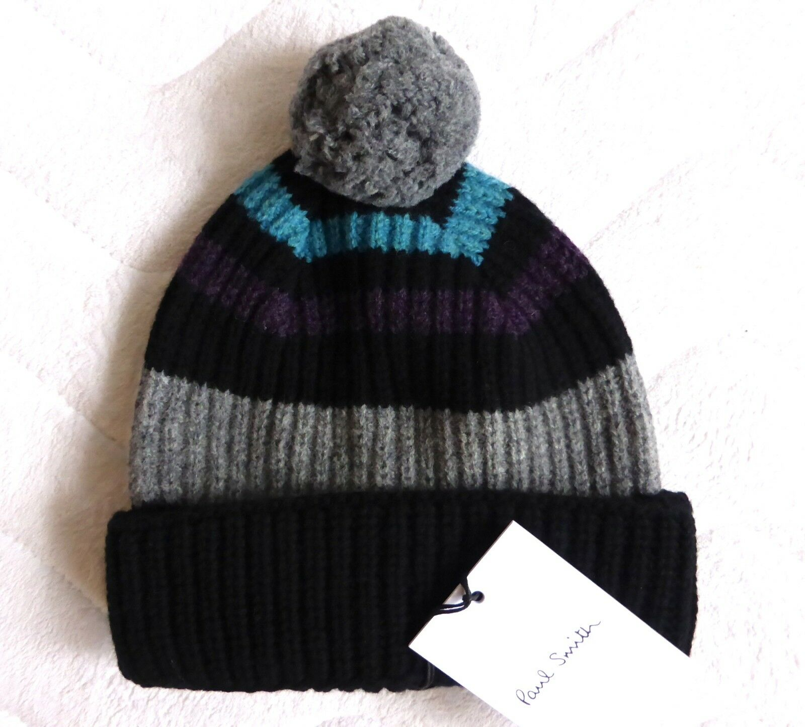 Autentico Paul Smith Nero Grigio Lana Bobble Cappello Beanie del mouominito PON PON fatto Scotle