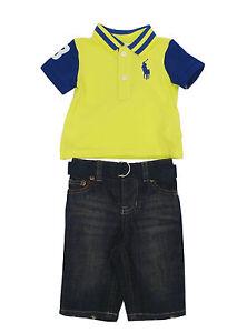 a2539f9b5fa86 Ralph Lauren Cotton Mesh Polo Top & Jeans Set Baby Boys 3, 6 Months ...