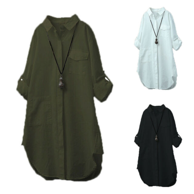 Womens Long Sleeve Solid Tunic Mini Shirt Dress Loose Tops Blouse Summer Casual