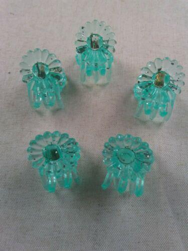 Vtg 1990/'s Hair Comb MINI JAW CLIP ~Set of 10~ SPARKLE PASTEL GREEN FLOWER *s