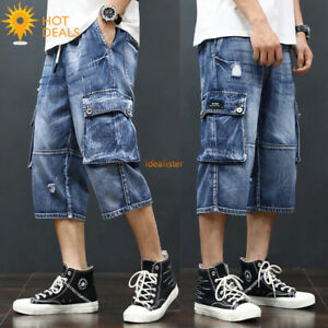 New-Men-s-Cargo-Loose-Capris-Denim-shorts-Retro-Blue-Ripped-Cropped-Short-jeans