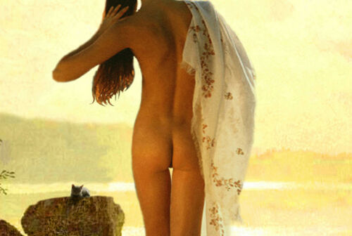 Lake Superior Wisconsin MN Retro Travel Poster Nude Beauty Pin Up Art Print 340