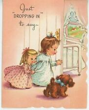 VINTAGE CUTE GIRL CHILD IN PAJAMAS BLONDE HAIR PUPPY DOG GET WELL ART CARD PRINT