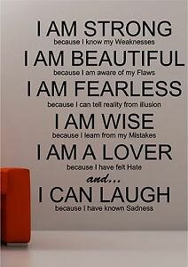 High Quality Image Is Loading I Am Strong Inspirational Wall Art Quote Sticker