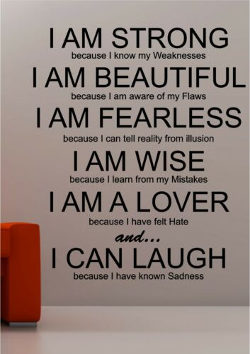 I am Strong inspirational wall art quote sticker vinyl lounge bedroom love