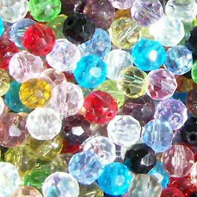 200 x 4mm / 100 x 6mm / 50 x 8mm Crystal Glass Faceted Round Beads Various Color