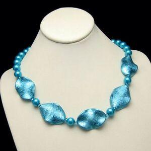 Aqua-Blue-Glass-Faux-Pearls-Vintage-Necklace-Iridescent-Discs-Unique-Design