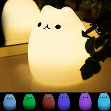 US USB Soft Silicone LED Night Light Baby Nursery Lamp Color Changing Cat Gift