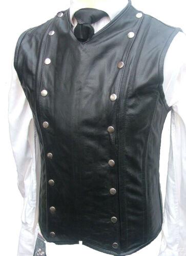 Mens Waistcoat Black Leather Victorian Corset Steel Boned GOTH Military