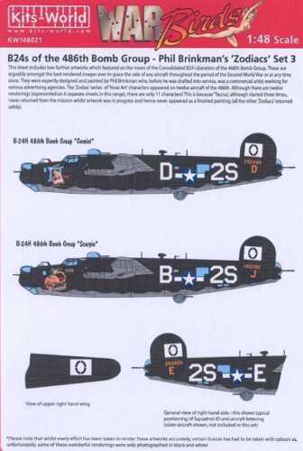 Kits World Decals 1//48 B-24 LIBERATOR ZODIACS #3 Gemini /& Scorpio