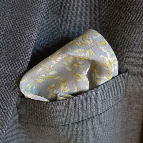 Grey Tea Leaves Liberty of London silk pocket square