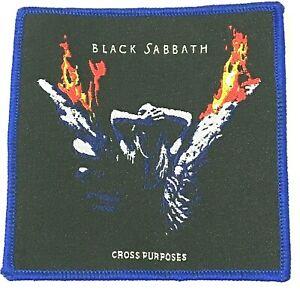 Black-Sabbath-Cross-Purposes-Quadrato-Tessuta-Toppa-Cucitura-su-Blu-Cucitura