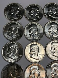 1958-d-franklin-half-dollar-Roll-20-Coins