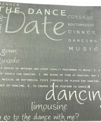 School Dance Themed 12 x 12 scrapbook paper acid and lignin free