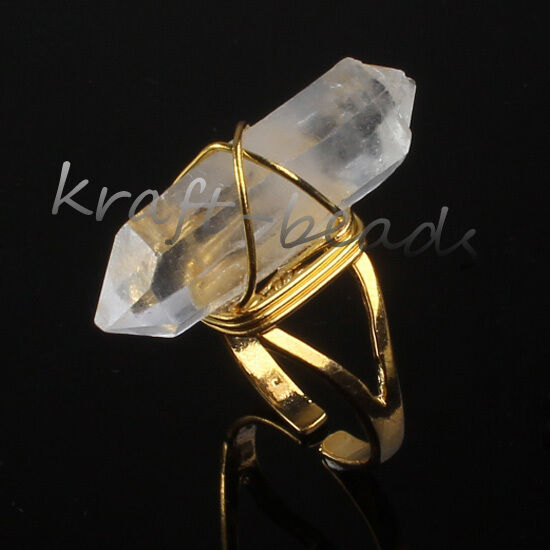 1x Natural Clear Rock Quartz Crystal Random Adjustable Stone Finger Ring Jewelry