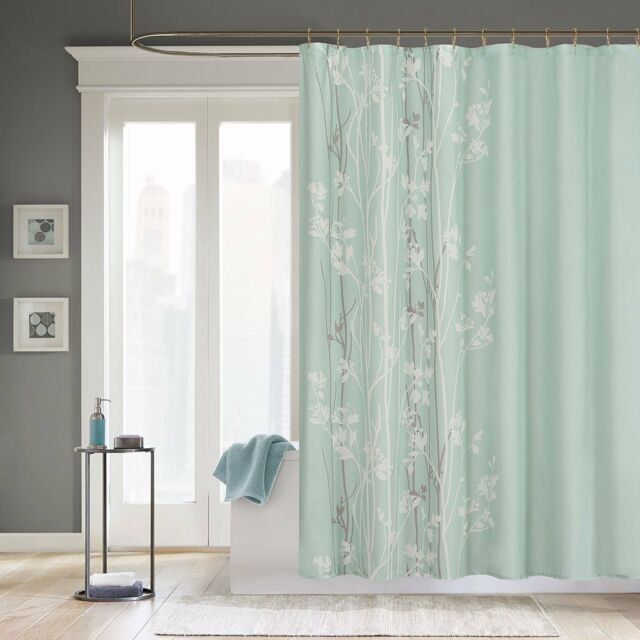 Madison Park Athena Floral Fabric Shower Curtain Seafoam Green NEW