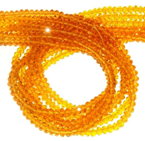 """CR129 Golden Topaz Yellow 4mm Faceted Rondelle Cut Crystal Glass Beads 18/"""""""