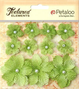 Burlap-Flowers-PISTACHIO-GREEN-Approx-8-2cm-amp-3-4cm-across-Petaloo-1208-BUR
